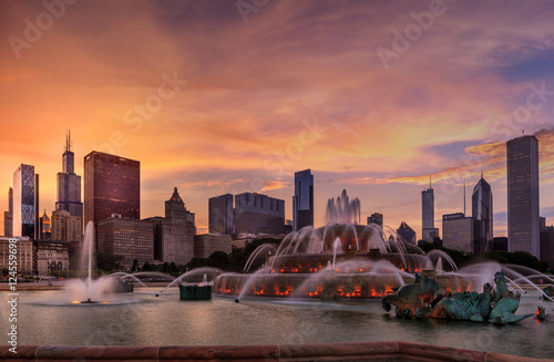 Chicago Skyline at Sunset Poster
