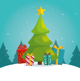 green tree christmas gifts boxes landscape background vector illustration eps 10