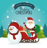 beautiful card happy holidays xmas santa snowman and sleigh with gift vector illustration eps 10