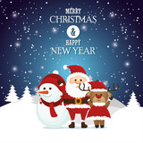 postcard merry christmas and happy new year santa snowman reindeer landscape snow vector illustration