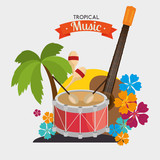 poster tropical music dumb guitar maraca palm and flower vector illustration eps 10