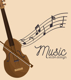 music festival fiddle wooden and notes vector illustration eps 10