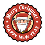 label merry christmas happy new year happy santa vector illustration eps 10