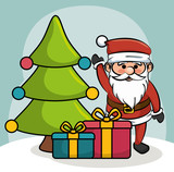 santa greets tree and gift boxes design vector illustration eps 10
