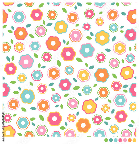 Fototapeta Simple flower seamless vector pattern