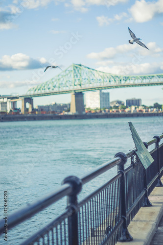 The Railing  with Jacques-Cartier Bridge of Montreal Quebec Cana Poster