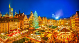 Fototapety Traditional christmas market in the historic center of Frankfurt, Germany