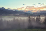 Beautiful view of the Tatras in a foggy day