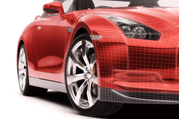 Just a red car (wireframe)
