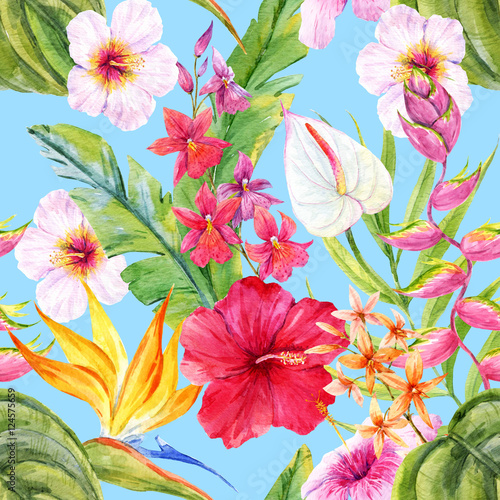 Materiał do szycia Watercolor tropical floral pattern