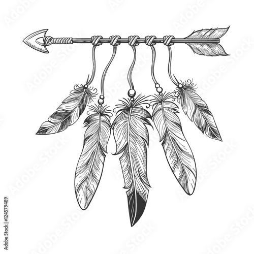 gezeichneter-pfeil-der-weinlese-geburt-christi-hand-mit-federn-stammes-boho-indischer-dreamcatche-talisman-an-lokalisiert
