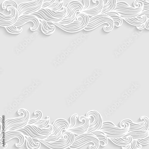 Fototapeta Grey 3d vector background with hand drawn curly doodle waves in the top and bottom, with place for text.