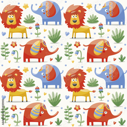 Cotton fabric Seamless cute pattern made with elephants, lion,giraffe, birds, plants, jungle, flowers, hearts, leafs, stone, berry for kids
