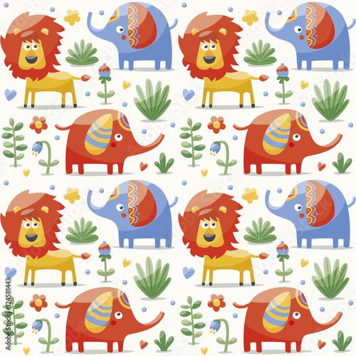 Materiał do szycia Seamless cute pattern made with elephants, lion,giraffe, birds, plants, jungle, flowers, hearts, leafs, stone, berry for kids