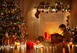 Child Opening Christmas Present, Kid Looking to Light Gift Box