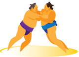 Two professional sumo wrestlers involved in the match