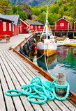 Tipical red houses on Lofoten islands, Norway - 124586406