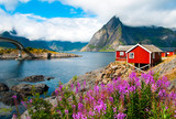 Lofoten islands landscape with tipical red houses, Norway - 124586418