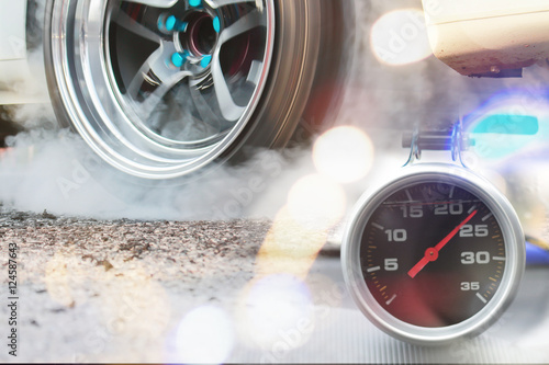 Close up of car speed meter race racing soft focus Poster