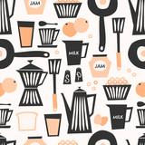 Seamless Breakfast Pattern - 124589004
