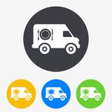 Icono plano furgoneta catering en circulo varios colores