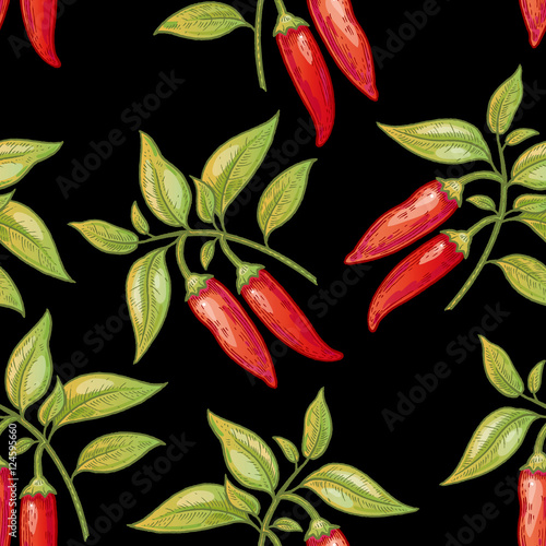 Seamless pattern with cayenne pepper