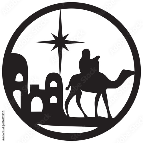 Adoration of the Magi silhouette icon vector illustration on white background. Scene of the Holy Bible
