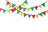 Christmas bunting paper cut on white background - isolated