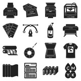 Typography set icons in black style. Big collection typography vector symbol stock illustration
