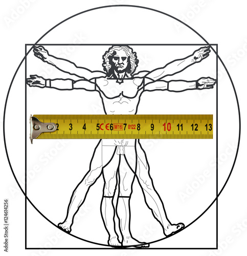 Poster The Vitruvian Man with a measuring tape