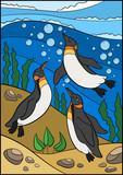 Cartoon birds. Three little cute penguins swim underwater.
