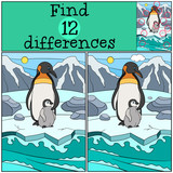 Educational game: Find differences. Mother penguin with baby.