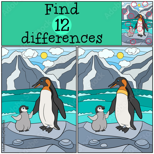 Plexiglas Zoo Educational game: Find differences. Mother penguin with her baby