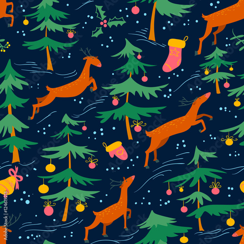 Cotton fabric Chirstmas seamless pattern with cute deers and decorated pine tree