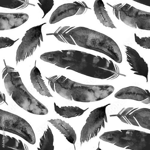 Cotton fabric Watercolor seamless pattern with black feathers on white