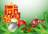 Christmas Background with Baubles, Gifts, Candles, Holly and Green Needles - Illustration, Vector