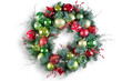 Colorful circular pine and bauble Christmas wreath