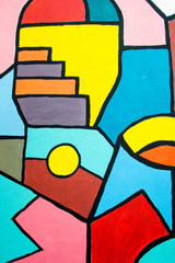 Street art contemporary painting on the wall. Abstract geometric background.