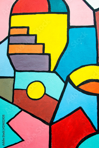 Street art contemporary painting on the wall. Abstract geometric background. - 124632438