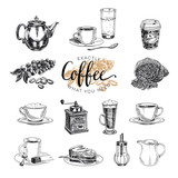 Fototapety Vector hand drawn coffee set. Sketch