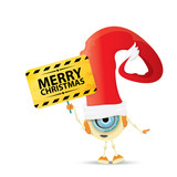Cartoon Cute Robot elf with santa red hat.