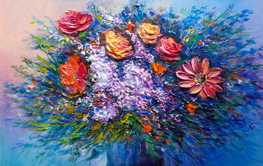 Oil painting flowers © serge-b