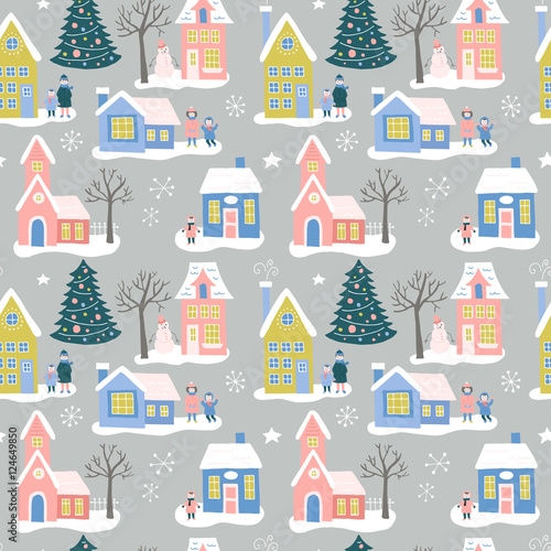 Materiał do szycia Christmas holiday seamless pattern design with houses and family