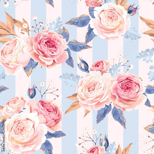 Cotton fabric Seamless vintage roses