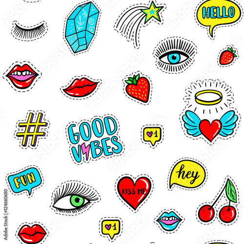 Foto op Aluminium Retro sign Vector hand drawn seamless pattern with fashion fun patches: eyes, lip, star, strawberry, cherry, crystal, Good vibes speech bubble. Pop art stickers, patches, pins, badges 80s-90s style