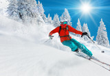 Fototapety Skier skiing downhill in high mountains