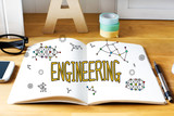 Engineering concept with notebook