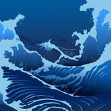 Blue Waves In The Japanese Style
