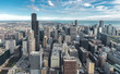 Chicago Downtown Skyline aerial view with skyscrapers