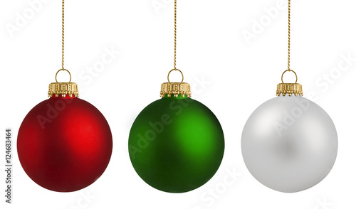 Staande foto Bol Christmas balls over white background